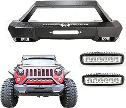 Bosmutus Front Bumper Black Textured J-e-ep Wrangler Rock Crawler Front Bumper Guard For 2007-2018 J-e-ep Wrangler JK, JKU, Sport,Sahara, Rubicon-With 2pcs 18w LED Lights