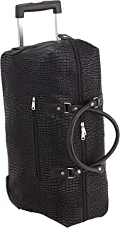 Hauptstadtkoffer Tiergarten - Reisetasche mit Rollen Trolley-Tasche Reisekoffer mit geräumigem Hauptfach, 56 cm, 55 Liter, Schwarz Lederoptik