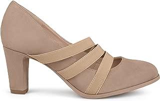 Brinley Co. Womens Levin Faux Suede Comfort Sole Chunky Heel Almond Toe Triple Elastic Strap Heels