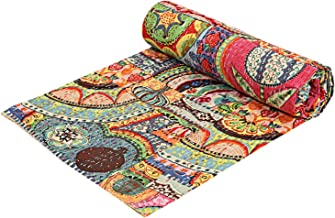 Indian Patch Work Cotton Kantha Quilt Queen Bedspreads Throw Blanket (Multi Floral) Bohemian Bedspread Bohemian Bedding Ha...