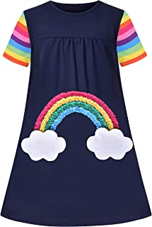 Sunny Fashion Girls Casual Dress Cotton Short Sleeve Swan Embroidered Size 2-6 Years