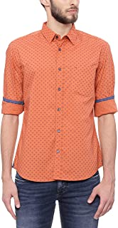 BASICS Slim Fit Rust Orange Printed Shirt