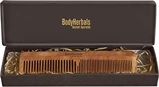 BodyHerbals Dressing Comb, Double Tooth, 100% Neem Wood, Hand Made with Design in Gift box (Cream)