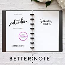 BetterNote 2020 Monthly Calendar for Disc-Bound Planners, Fits 8-Disc Levenger Circa Junior, ARC, TUL, Half Letter Size 5.5