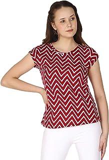 Fraulein Girl's/Women's Zig Zag Style Crepe Top Regular Fit Short Sleeves