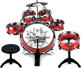 Velocity Toys 11 Piece Children's Kid's Musical Instrument Drum Play Set w/ 6 Drums, Cymbal, Chair, Kick Pedal, Drumsticks (Red)