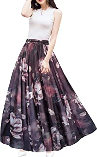 Afibi Boho Floral Long Summer Beach Chiffon Wrap Cover Up Maxi Skirt for Women