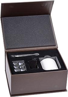 GRÄWE Whiskey-Steine Set aus Marmor - Geschenk-Box mit 6 Kühlsteinen, Stoffbeutel, Zange und Marmorbehälter