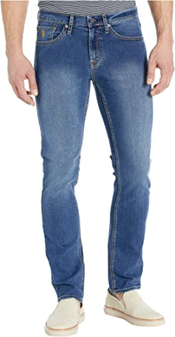 Stretch Slim Straight Five-Pocket Jeans in Blue