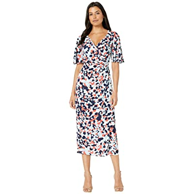 Maggy London Print Crepon Wrap Over Maxi Dress (Soft White/Coral) Women
