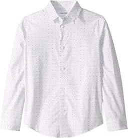 Dots Printed Stretch Long Sleeve Shirt (Big Kids)