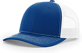 Richardson Unisex 112 Trucker Adjustable Snapback Baseball Cap, Split Royal/White, One Size Fits Most