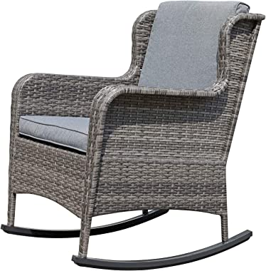 Soleil Jardin Outdoor Resin Wicker Rocking Chair with Cushions, Patio Yard Furniture Club Rocker Chair, Gray Wicker & Gray Cu
