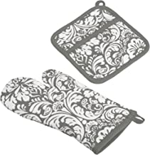 DII Cotton Damask Oven Mitt 12 x 6.5 and Pot Holder 8.5 x 8 Kitchen Gift Set, Machine Washable and Heat Resistant for Cook...