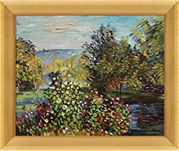 "La Pastiche Corner of the Garden at Montgeron by Claude Monet Oil Painting, 8"" x 10"", Piccino Luminoso Frame Gold Metallic..."