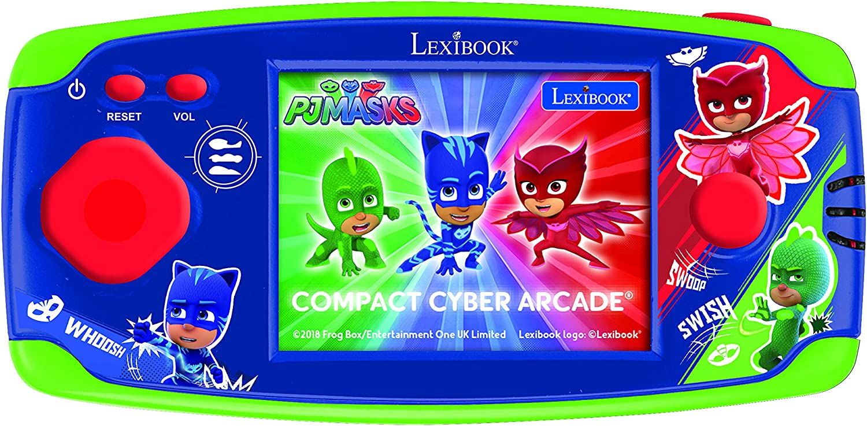 LEXIBOOK- PJ Masks Gatuno Compact Cyber Arcade Consola portátil, 150 Juegos, LCD, con Pilas, Verde/Rojo