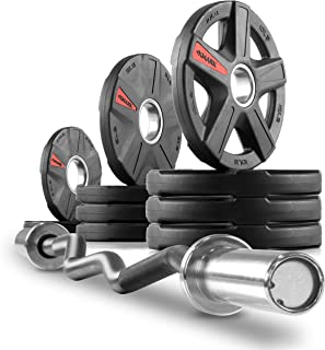 XMark Texas Star Olympic Plate Weight Sets with XM-3670 Olympic EZ Curl Bar, Rubber Coated Olympic Weight Set, Bumper Plates, Olympic Barbell Weight Set for Home, Weight Set with Bar
