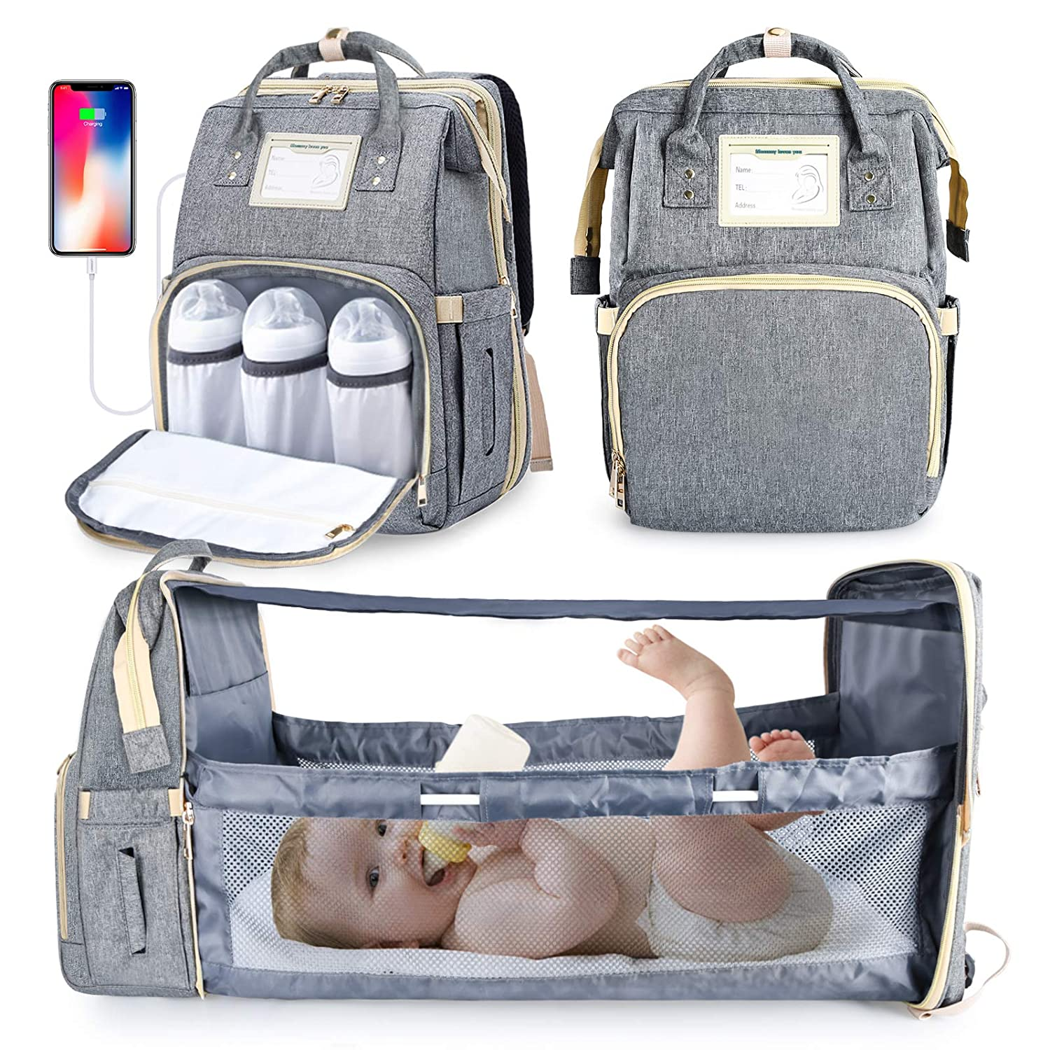 Beinhome Baby Diaper Bag Backpack with Changing Station Diaper Bags for Baby Bags for Boys Girls, Portable Baby Crib and Insulated Pocket, Large Capacity Baby Bag with Foldable Baby Bed