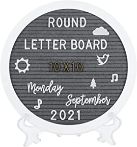G GAMIT Round Felt Letter Board Message Sign - 10x10 inches Message Board with 465 Changeable White&Golden Letters,Numbers,Cursive Words and Stand for Party,Baby Announcement,Wedding,Pregnancy,Wall&Tabletop Decor (Gray)