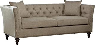Homelegance Marceau Tuxedo Style Sofa with Flared Arm and Double Nailhead Accent, Button Tufted with Two Toss Pillows, Tan