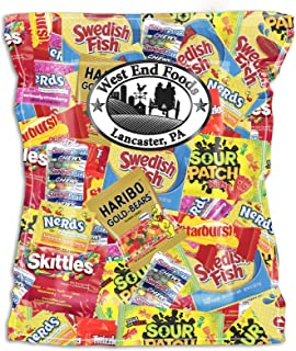 Candy Treats 3 POUNDS - Individually Wrapped Candy - Skittles, Starburst, Swedish Fish, Twizzlers, Nerds, Sour Patch Kids, Sweet Tarts - Assorted Candy Bulk - Halloween Candy Bags