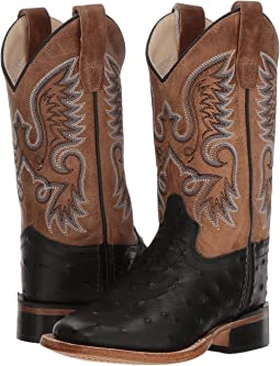 Old West Kids Boots - Ostrich Print Square Toe (Toddler/Little Kid)