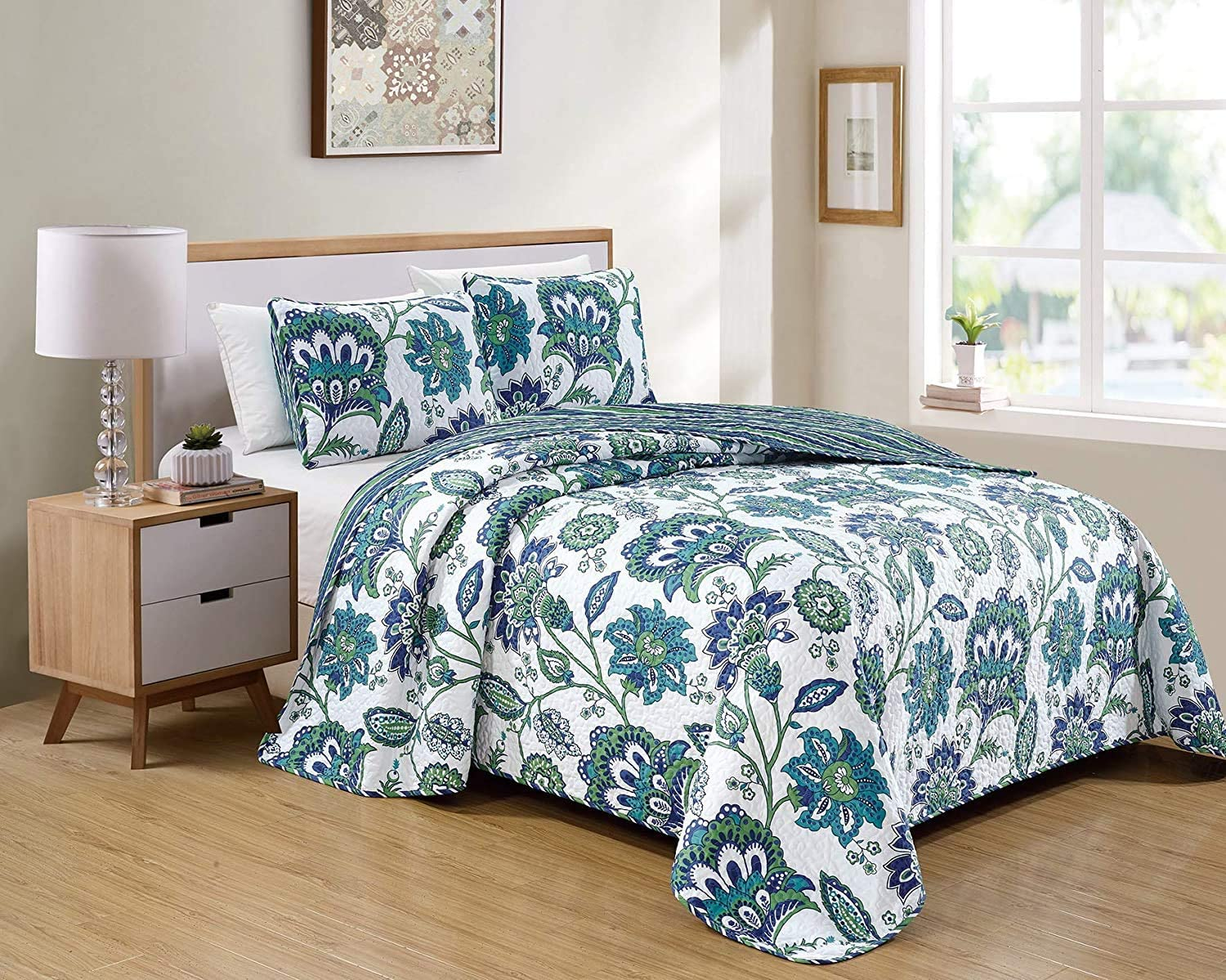 Smart Linen Bedspread 価格交渉OK送料無料 Set Quilt Pattern Country Manor Floral 正規品スーパーSALE×店内全品キャンペーン Tur