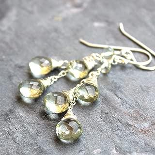 Green Amethyst Earrings Sterling Silver Prasiolite Briolette Dangle Cascade
