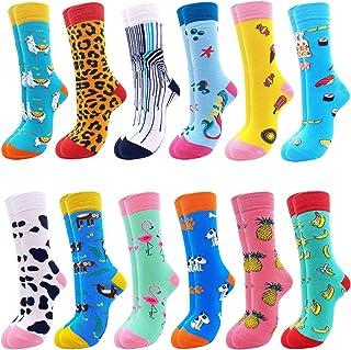 Merclix, Calcetines coloridos para mujer 39 – 42, divertidos calcetines para mujer, regalos para mujeres, regalos divertidos, algodón 12 animales 2 44