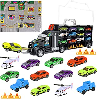 iBaseToy Toy Cars, Transport Car Carrier Truck 12 in 1 Educational Vehicles Toy Car Set for Kids Toddlers Boys Girls (Includes 8 Sports Car, 2 Off-Road Cars, 2 Helicopters, 2 Roadblocks & 1 City Map)