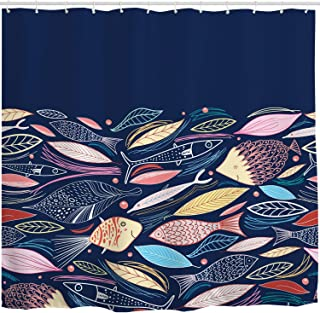 BROSHAN Navy Blue Decor Shower Curtain,Modern Abstract Colorful Leaf Fish Pattern Blue Backdrop Nature Themed Print Bath Curtain,Polyester Fabric Bathroom Decor Set with Hooks,72x72 Inch