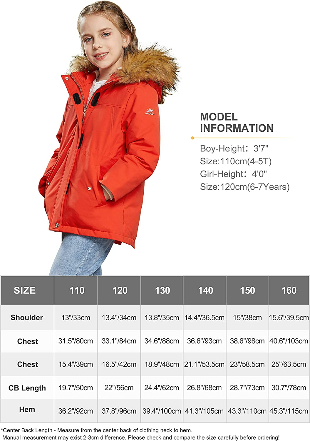 Orolay Girls Thickened Winter Down Coat Boys Hooded Fleece Lined Parka Jacket