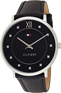 Tommy Hilfiger Women's Black Dial Leather Band Watch - 1781808