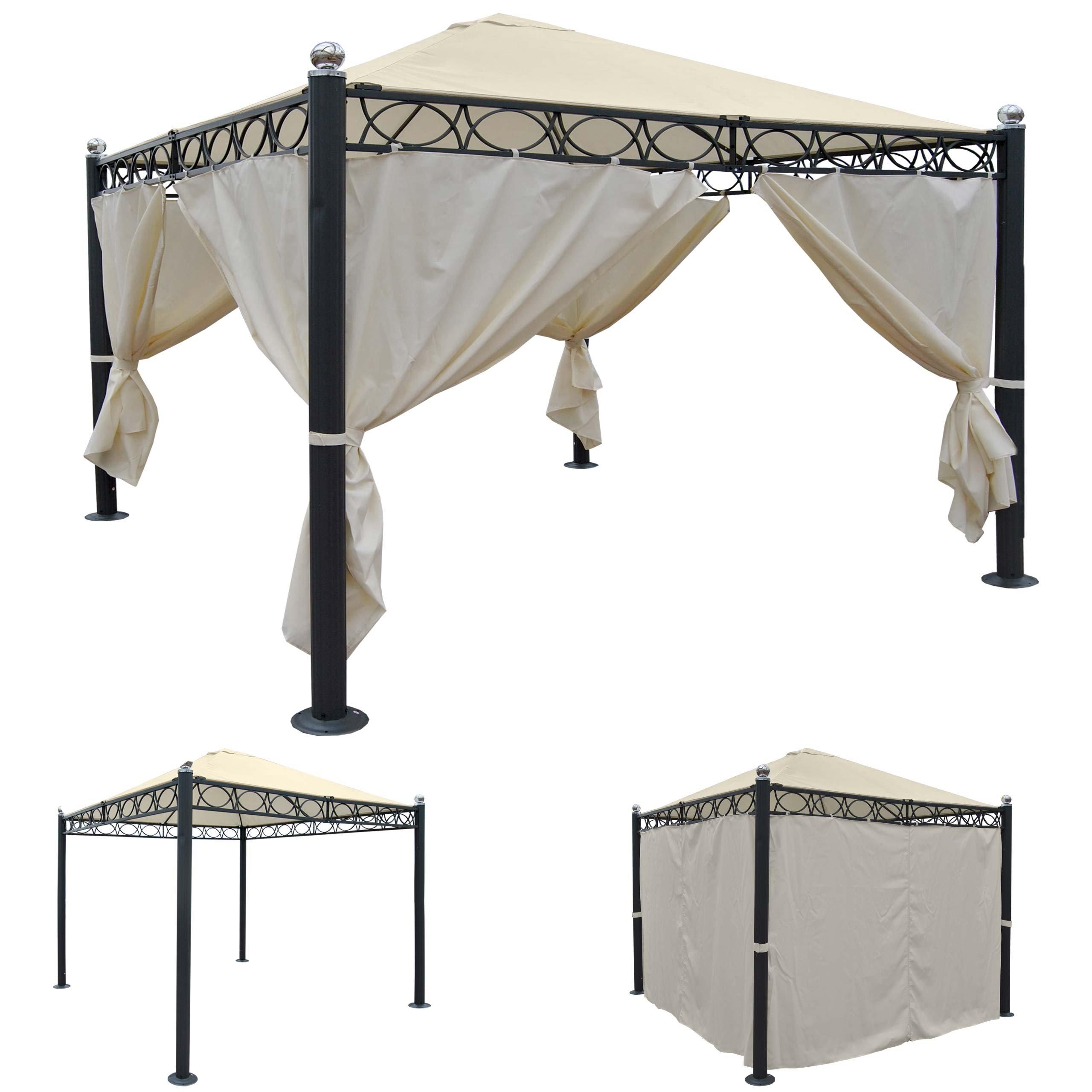 Pergola Bela Antigua, Cenador, estructura estable de 10 cm de lujo aluminio, 3 x 3 m ~ con pared lateral: Amazon.es: Jardín