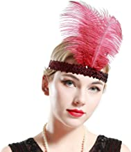 BABEYOND 1920s Flapper Headband Roaring 20s Sequined Showgirl Headpiece Great Gatsby Headband with Black Feather