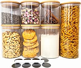 7 Piece Set Glass Containers With Bamboo Lid, Eco Friendly Kitchen Storage, Elegant Pantry Storage Includes Label Stickers...