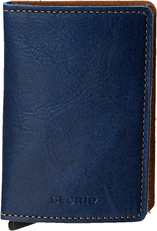 Secrid Slim Wallet Genuine Leather Indigo 5, RFID Card Case Max 12 Cards