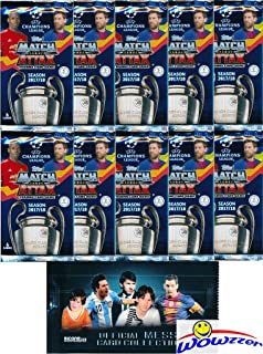 2017/18 Topps Match Attax Champions League Soccer Collection of (10) Factory Sealed Foil Packs with 60 Cards Plus BONUS Lionel Messi Pack! Look for Top Stars including Ronaldo, Messi, Neymar & More!