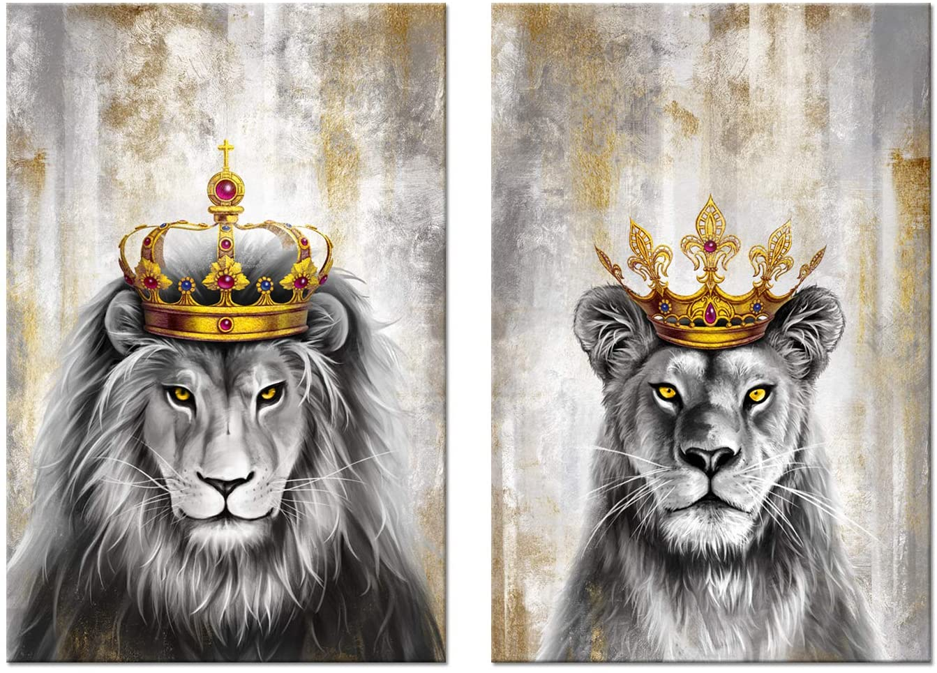 Zlove 2 Pieces Animal King Wall Art Lion Lioness Crown and Max 89% OFF with free shipping