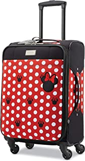 American Tourister Kids' Disney Minnie Mouse Dots Softside Carry On Luggage with Spinner Wheels, Black/Red