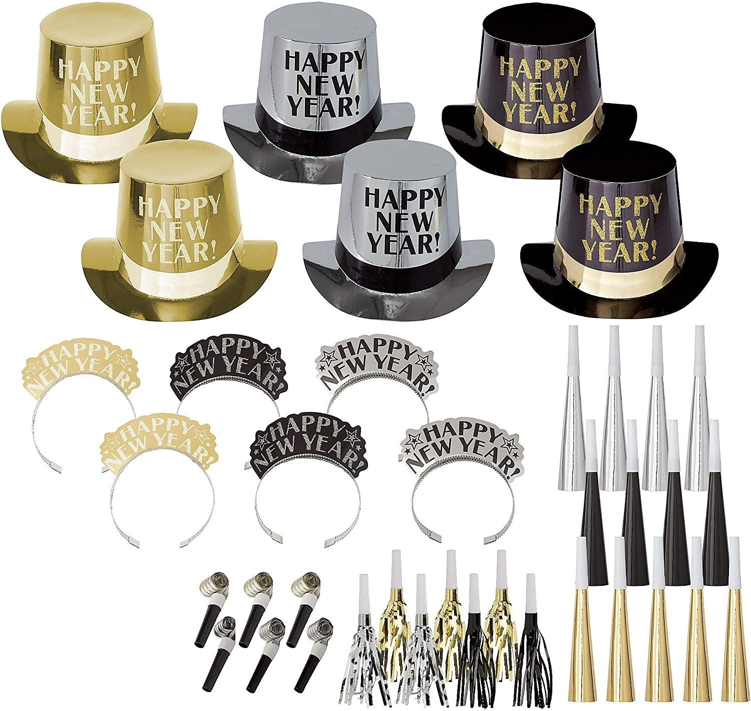 Amscan Get The Party Started New Year's Party Kit for 25, Includes Top Hats and Tiaras