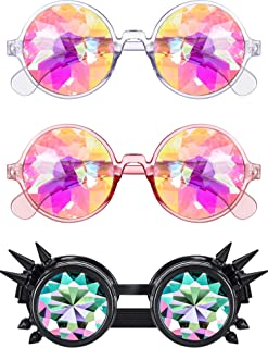 3 Pieces Kaleidoscope Goggles Rainbow Prism Sunglasses with Glasses Cloth for Rave Party Festival Decoration Favors (Style B)