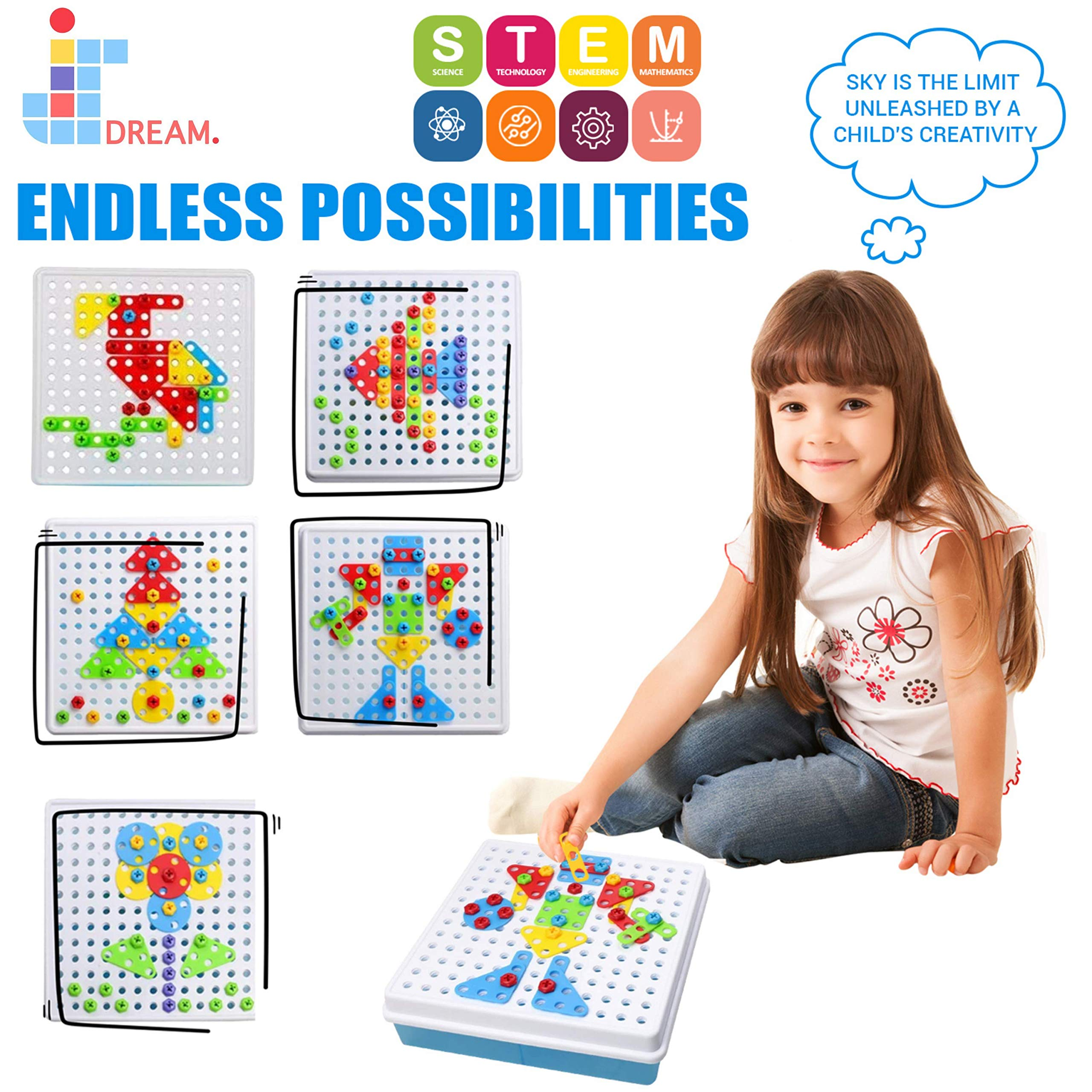 JIDREAM Screw Toy Kids Set, Building Block Games, Kids Puzzle Toy With Screwdriver, Educational Learning Game, STEM Toy Puzzle For Boys and Girls 180pcs العاب للاطفال العاب تعليمية