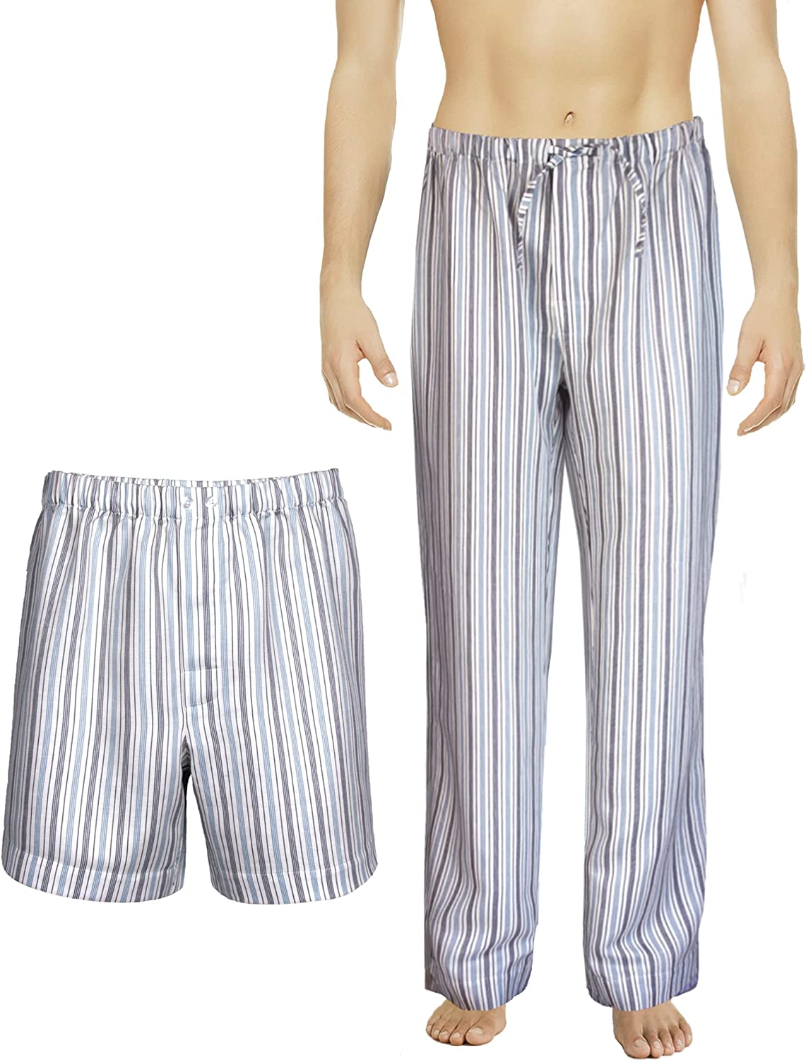 Men's Striped Boxer Shorts + Pajama Pants, Vincenzo Satin Linen Cotton Crafted in Europe