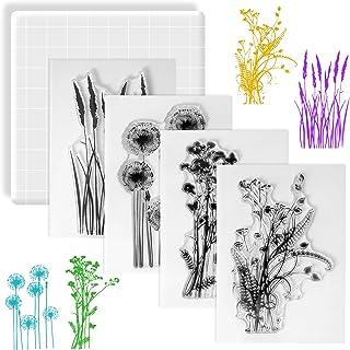 Huanchenda Tampons Scrapbooking Transparent, 4 Pièces Ensemble de Tampons Silicone Motif de Fleur avec Bloc de Tampon pour...