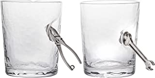Godinger Old Fashioned Glasses, Wrench Pliers Handyman Drinking Glass - Set of 2