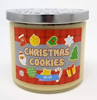 S&M Candle Factory Christmas Cookie Candle ~ 3 Wick Scented Soy Wax 14.5oz Candle ~ 80 Hour Burn Time ~ Made in USA (14.5 oz Cream)