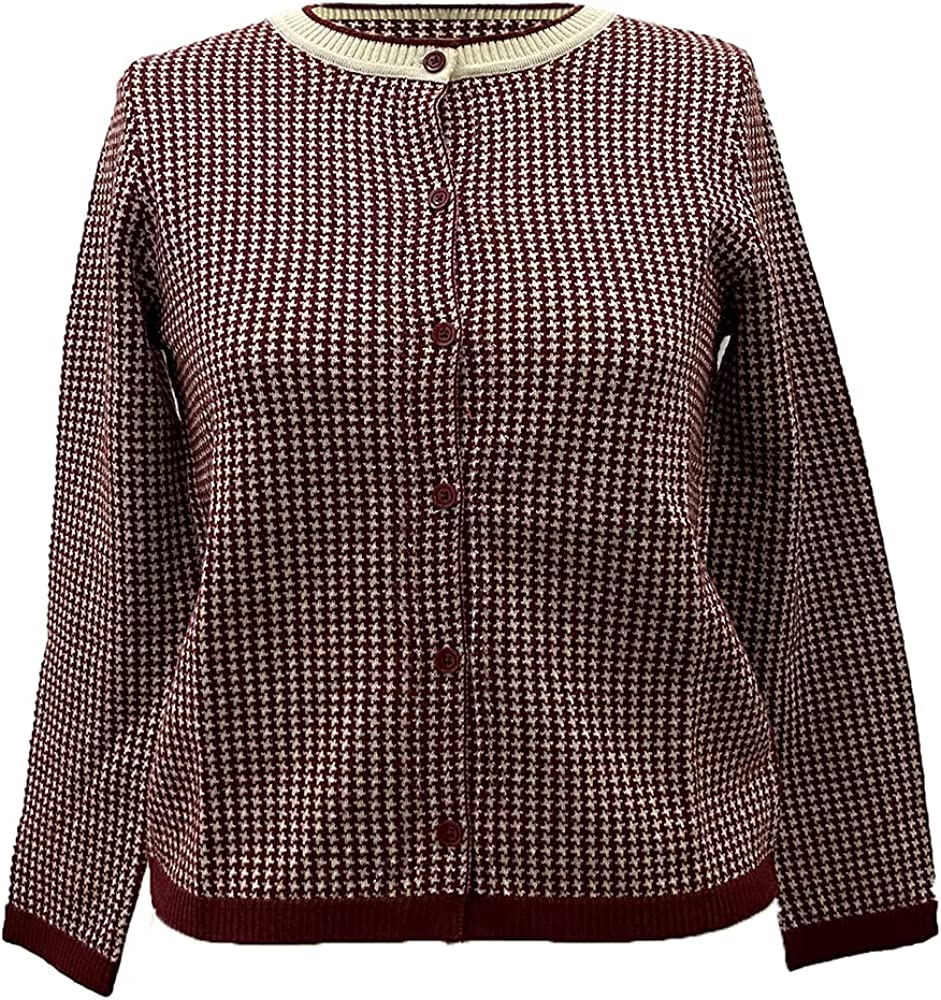Women's Wool Cardigan Long Sleeves Button Down Crewneck in Checkered Classic Elegant