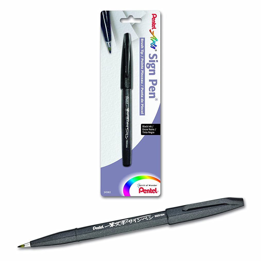 Pentel Arts Sign Pen Touch, Fude Brush Tip, Black Ink - 1 Pack (SES15NBPA)