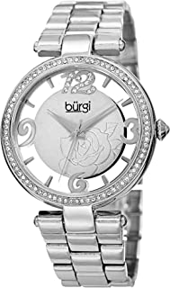 Burgi Swarovski Crystal Accents Women's Watch - See-Thru Cut Out Dial On Flower Design On Stainless Steel Bracelet - BUR148